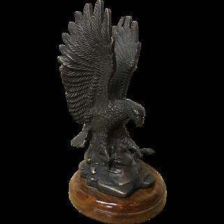 "Vintage bronze eagle on walnut base. Height 11"""