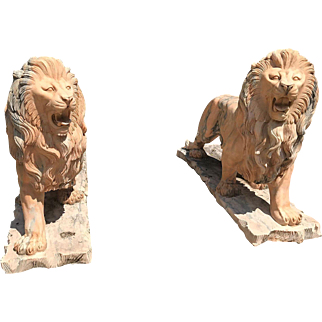 Magnificent pair of Classical hand carved solid marble lion sculptures, life size, rare!