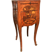 Antique French marquetry inlaid nightstand or side table, circa 1890.