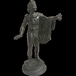 Notable bronze statue of the Greek god Belvedere Apollo, circa 1850