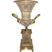 Fine Baccarat cut crystal and bronze mounted trumpet vase, circa 1920. FREE shipping.