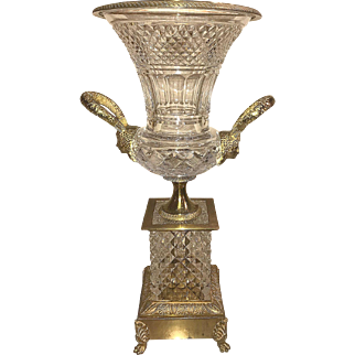 Fine Baccarat cut crystal and bronze mounted trumpet vase, circa 1920