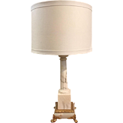 Antique French onyx and marble, bronze footed lamp, circa 1890