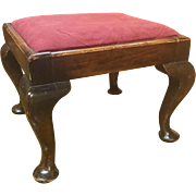 Antique English Queen Anne footstool, circa 1890-1910