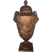 Antique French and Grecian styled terracotta urn, circa 1910-1920.