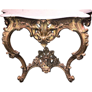 Antique French carved giltwood console with carrera marble top, circa 1860