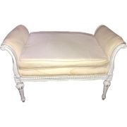 Vintage French Louis XVI style upholstered window bench, circa 1940