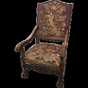 Antique French Louis XIV style Aubusson armchair, circa 1890