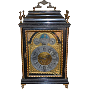 Antique English ebonized and bronze appointed mantle clock, circa 1830