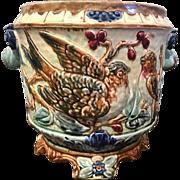Antique French majolica porcelain planter