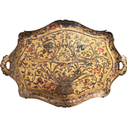 Antique Venetian hand-painted serving tray, circa 1910.