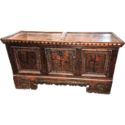 Antique Dutch painted pine blanket chest or trunk, circa 1800