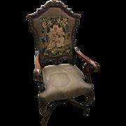 Antique French walnut Renaissance carved armchair, Circa 1890