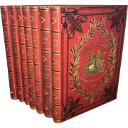 Antique set of French leather bound books, 1884