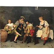 Antique Continental oil on panel interior scene painting, 1896