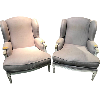 Vintage pair of large French Louis XVI style upholstered armchairs, circa 1940