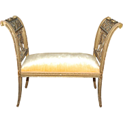 Antique French Neo-Classical gilt wood window bench, circa 1890