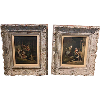 Antique pair of Continental oil on panel paintings, romantic comedy scenes