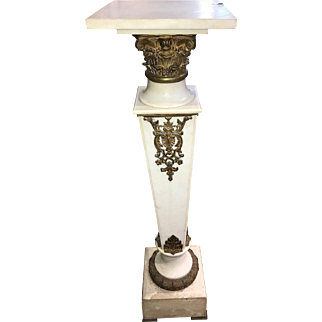Antique Continental marble and bronze display pedestal, circa 1900