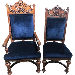 Rare antique set of 10 American walnut dining chairs, circa 1880