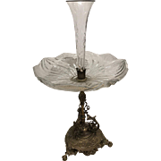 Antique French cast bronze and crystal centerpiece, most likely Baccarat