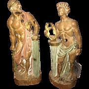 Antique pair of Italian carved wood Roman statues, circa 1900