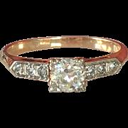 Vintage 14K Gold .35ct Diamond Engagement Ring