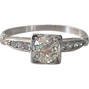 Vintage Platinum .70ct Diamond Engagement Ring
