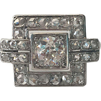 Vintage 18K .50ct White Gold Diamond Engagement Ring