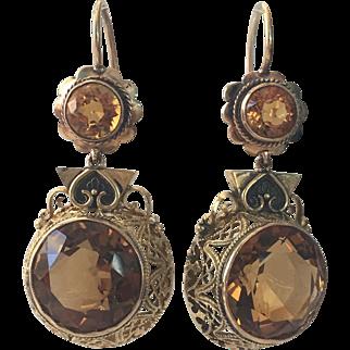 Vintage 14K Gold Filigree Citrine Chandelier Earrings