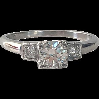 Vintage 1940's .50ct Diamond Platinum Engagement Ring