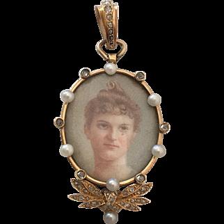 Victorian 14k Gold Inlay Rose Cut Diamond Pearl Pendant