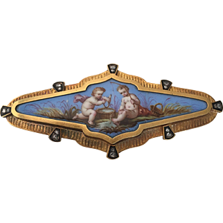 Victorian 14K Gold Enamel Rose Cut Diamond Brooch