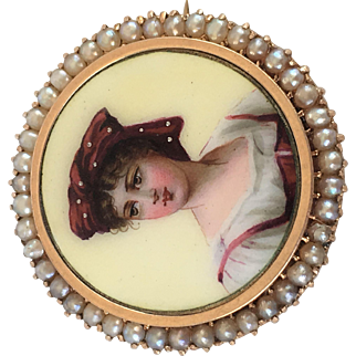Victorian Sterling with Gold Wash Enamel Pearl Brooch