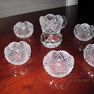 Individual Salts and Toothpick holder by Portland Glass Company of Portland, Maine