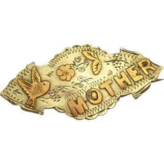 "Sterling Silver & Gold Art Nouveau Brooch: ""Mother"", Birmingham 1918"