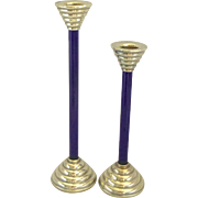 A Pair of Sterling Silver & Murano Glass Candlesticks