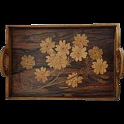 French Art Nouveau Marquetry Tray: Émile Gallé circa 1900