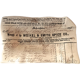 Fornasetti, Milan Card Tray or Dish: Invoice for Spices, Philadelphia dated 1872