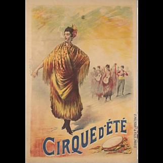 Original French Art Nouveau Circus Poster: Henri Gray: Cirque d'Été, around 1900