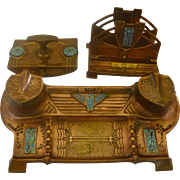 Arts & Crafts Copper/Bronze and Enamel Desk Set