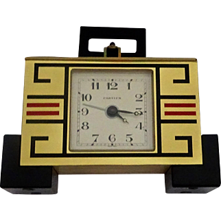 Cartier Brass & Enamel Art Deco Clock: New Old Stock