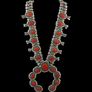Impressive Vintage Sterling Silver Carved Coral Squash Blossom Necklace