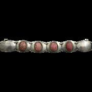 Signed Industria Argentina Modernist 900 Silver Bracelet with Inca Rose Rhodochrosite Cabochons