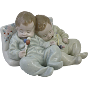 Lladro Little Dreamers Figurine Number 5772 Featuring Sleeping Twin Babies Pacifier and Rattle