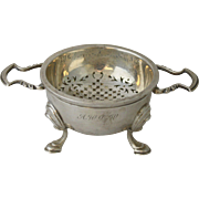 Vintage English 1920s Sterling Silver Tea Strainer With Footed Drip Bowl by Lionel Alfred Crichton