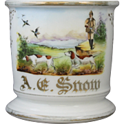 Antique Austrian Occupational Shaving Mug With Duck Hunting Scene of Hunter and Spaniel Dogs