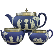 VTG Wedgwood c1930s Cobalt Blue Jasperware Teapot Creamer and Sugar Set From England with Marked EPNS Lid and Trim