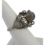 VTG Size 8 Taxco Mexican Sterling Silver Ring with Amethyst Cabochon With PCA Mark