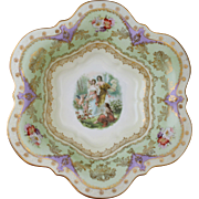 Antique c 1900 Carl Tielsch Porcelain Bowl Featuring A Garden Scene with Pixies/Fairies and Cherub